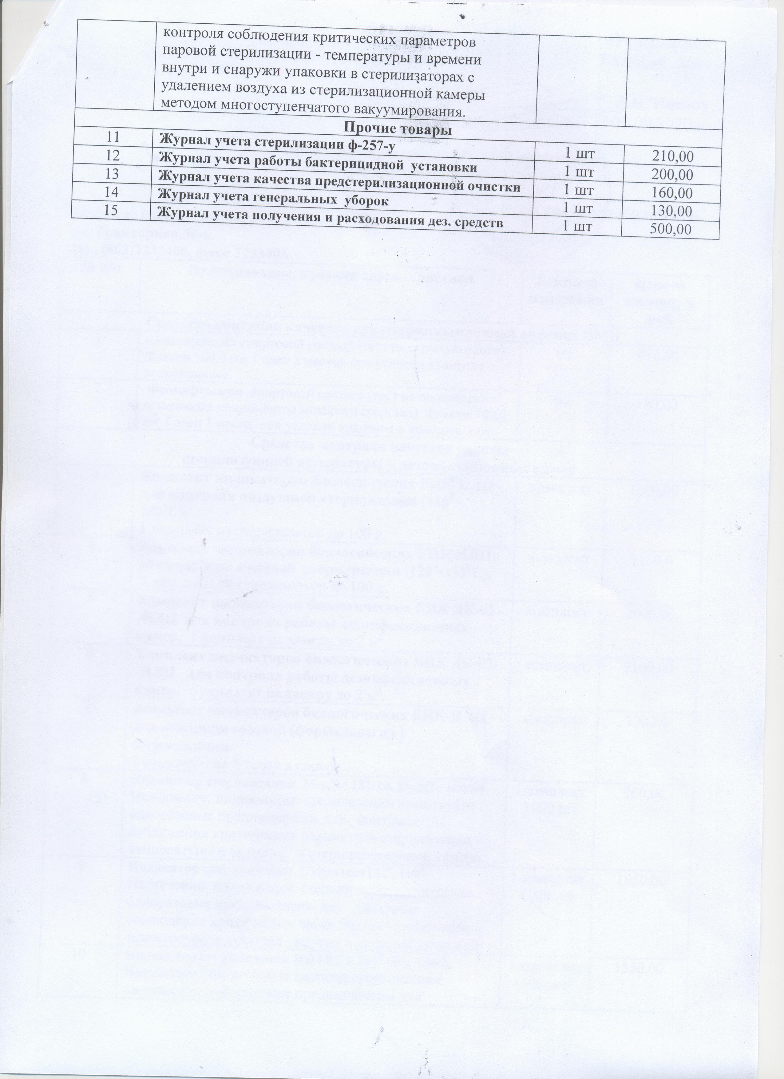 Прайс-лист бак.лаборатория 001